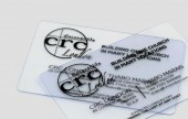 Have a clear transparent plastic business card for a futuristic look.