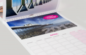 Our Wall Calendars are printed in full colour on coated white board. Each calendar is white wire bound at the head and includes thumb slot with hanging hook.